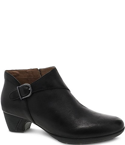 Dansko Darbie Leather Buckle Detail Block Heel Ankle Booties