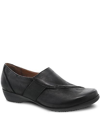 Dansko Fae Burnished Leather Block Heel Slip Ons
