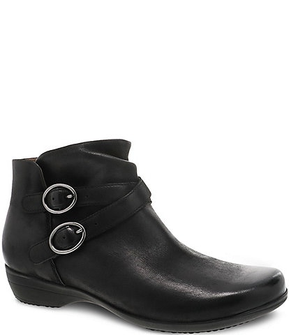 Dansko Faithe Leather Buckle Detail Block Heel Ankle Booties