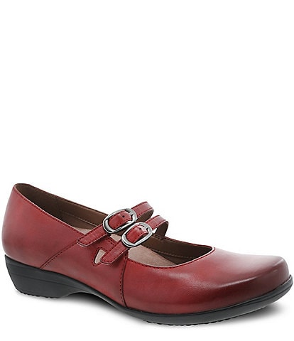 Dansko Fynn Double Strap Leather Wedge Mary Janes