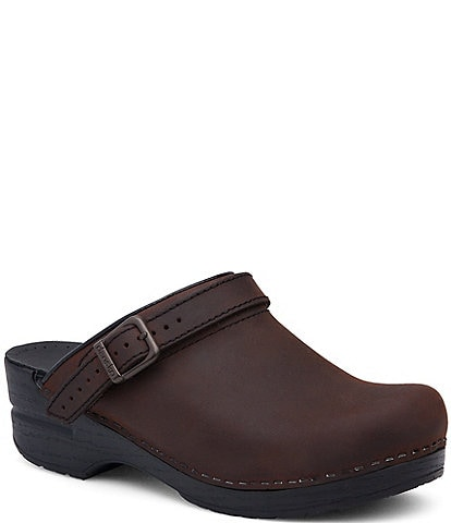 Dansko Ingrid Oiled Leather Buckle Clogs