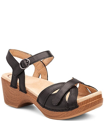 Dansko Season Leather Buckle Ankle Strap Block Heel Platform Sandals