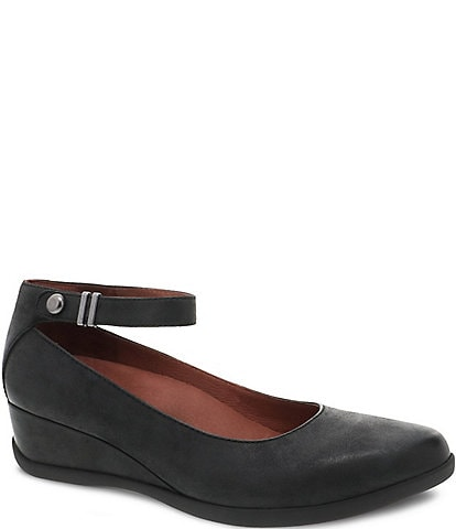 Dansko Shaylee Ankle Strap Waterproof Leather Wedge Pumps