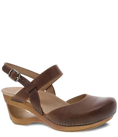 Dansko Taci Burnished Waxy Leather Wedges