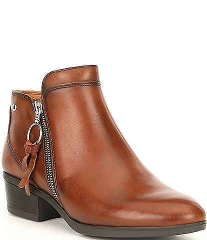 Pikolinos Daroca Side Zip Leather Block Heel Booties
