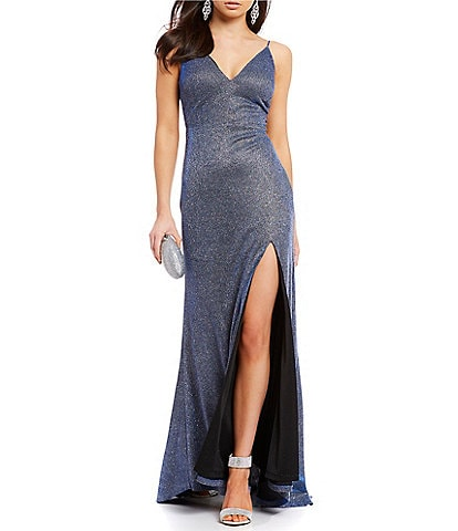 Dear Moon Glitter-Knit Metallic Long Dress