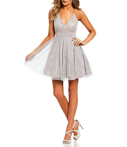 Dear Moon Glitter Pattern Fit-and-Flare Dress