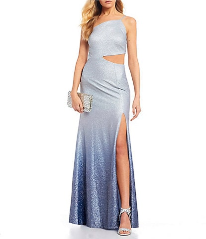 Dear Moon One-Shoulder Cut-Out High Side Slit Ombre Long Dress