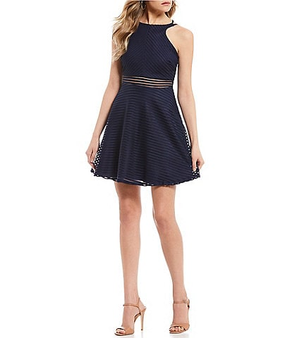 Dear Moon Shadow Stripe Fit-and-Flare Dress