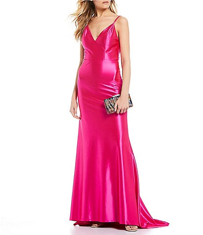 Dear Moon Spaghetti Strap Bow-Back Stretch Satin Long Dress