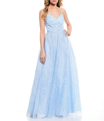 Dear Moon Spaghetti Strap Embroidered Sequin Ball Gown