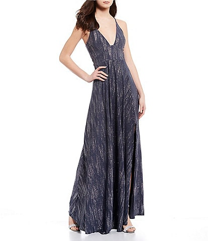 Dear Moon Spaghetti Strap Plunging Neckline Side Slit Glitter ITY Long Dress