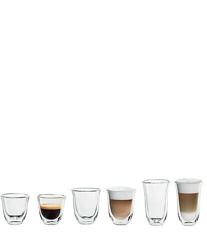 DeLonghi Espresso, Cappuccino, Latte Double Wall Thermal Glasses, Set of 6