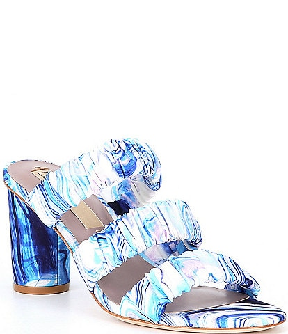 Deltan Colette Printed Three Band Dress Mules