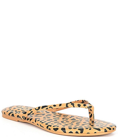 Deltan Hula Leopard Print Leather Thong Sandals