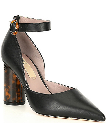 Deltan Jami Leather Ankle Strap Tortoise Heel Pumps
