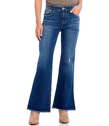 Democracy Ab-solution High Rise Distressed Raw Hem Flare Leg Jeans
