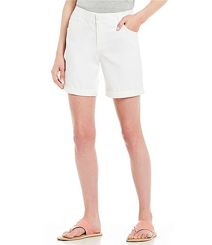 Democracy #double;Ab#double; Solution White Denim Cuffed Shorts