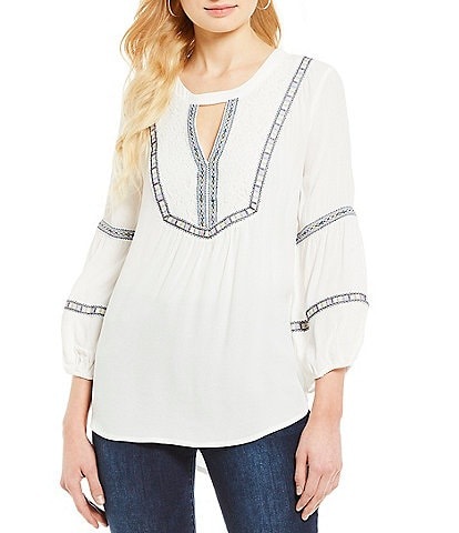 Democracy Balloon Sleeve Embroidered Keyhole Neck Hi-Low Top