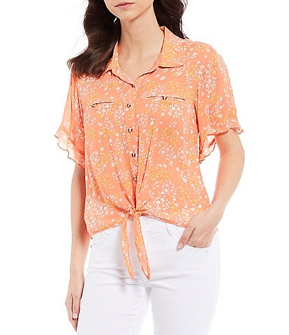 Democracy Ditsy Floral Print Ruffle Short Sleeve Button Tie Front Top