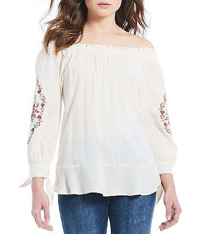 Democracy Embroidered Off-the-Shoulder Floral Embroidered Tie Sleeve Top