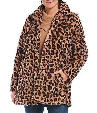 Democracy Leopard Print Snap Front Faux Fur Coat
