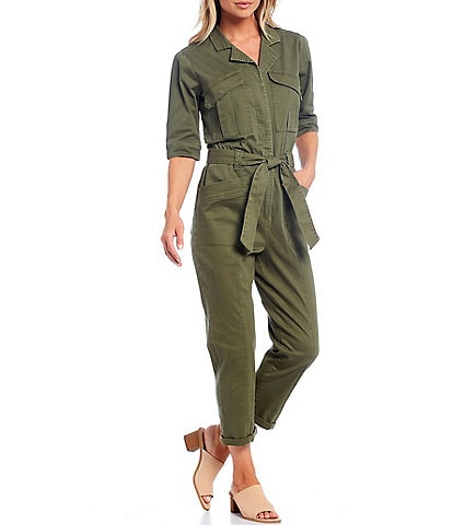 Democracy Notch Collar Elbow Sleeve Belted Utility Jumpsuit
