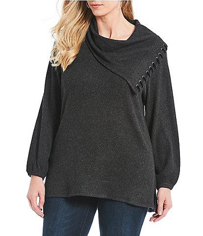 Democracy Plus Size Asymmetric Cowl Neck Sweater