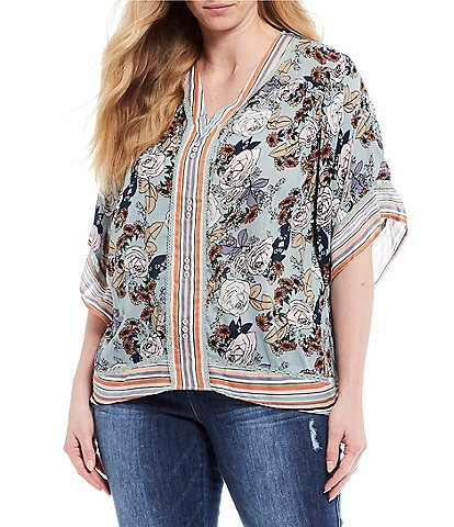 Democracy Plus Size Floral Border Print V-Neck Kimono Sleeve Top