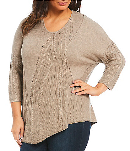 Democracy Plus Size V-Neck Cable Mix Sweater