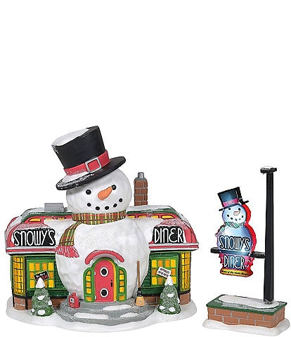 Department 56 North Pole Collection Snowy's Diner & Lighted Sign Set