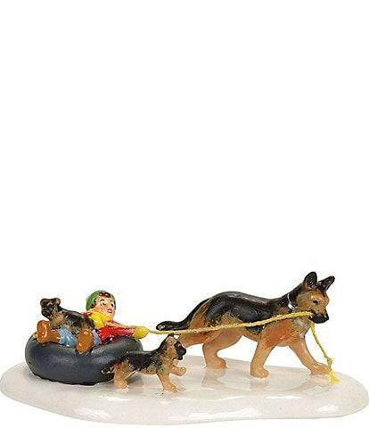 Department 56 Snow Village Inner Tube Sled Dog Race Figurine