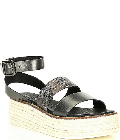 Diba True Day Line Leather Ankle Strap Espadrille Wedges