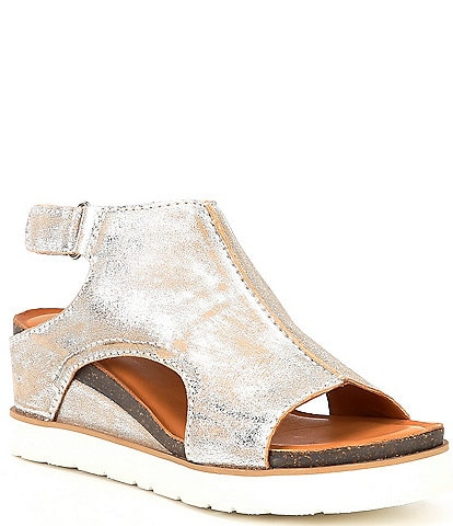Diba True Get Along Metallic Suede Cut Out Wedge Sandals