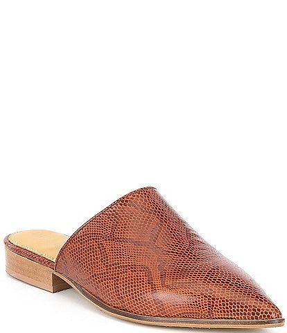 Diba True High Up Snake Embossed Leather Mules
