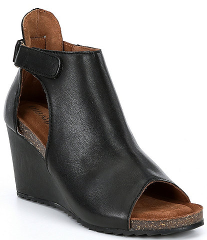 Diba True New Year Leather Peep-Toe Ankle Wedge Booties