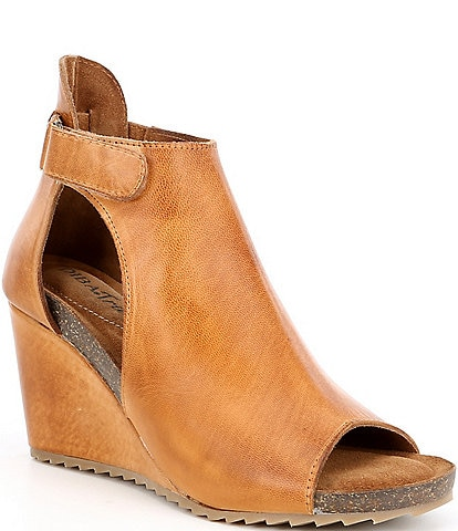 Diba True New Year Leather Peep-Toe Wedge Booties