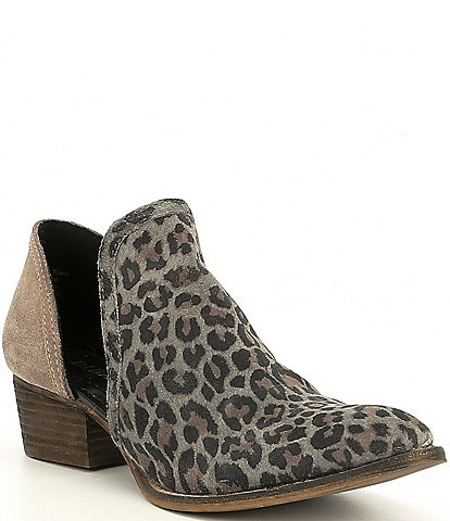 Diba True Shy Town Leopard-Print Suede Two-Piece Block Heel Booties
