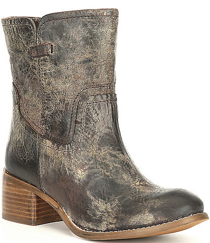 Diba True West Haven Distressed Leather Block Heel Boots
