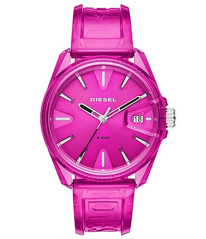 Diesel MS9 Three-Hand Pink Transparent Watch