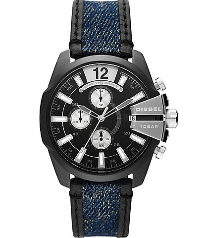 Diesel Baby Chief Chronograph Two-Tone Denim and Leather Watch