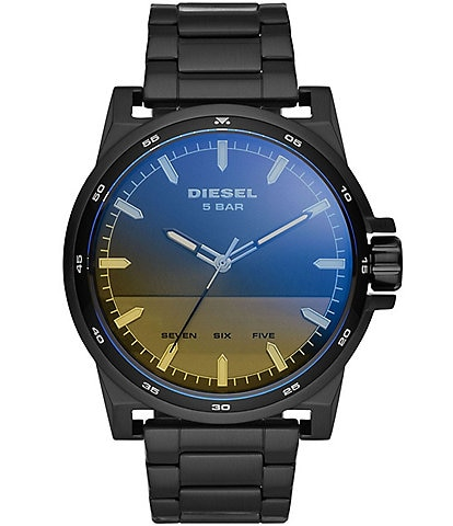Diesel D-48 Three-Hand Iridescent Crystal Dial Black Stainless Steel Watch
