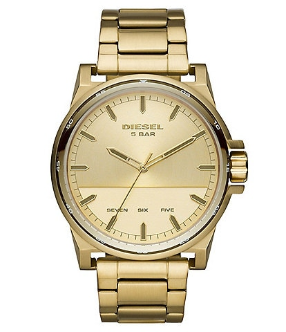 Diesel D-48 Three-Hand Gold-Tone Stainless Steel Watch