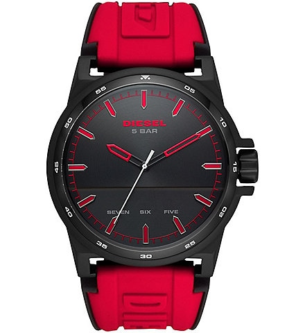 Diesel D-48 Three-Hand Red Silicone Watch