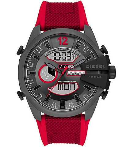 Diesel Mega Chief Analog-Digital Red Nylon and Silicone Watch