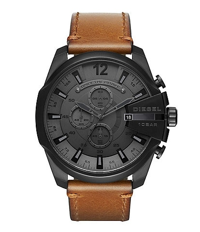 Diesel Mega Chief Chronograph & Date Leather-Strap Watch