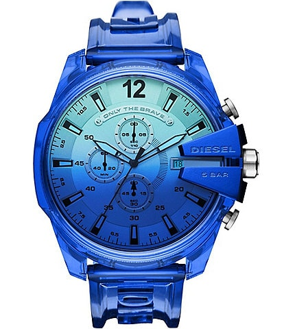 Diesel Mega Chief Chronograph Blue Polyurethane Transparent Watch