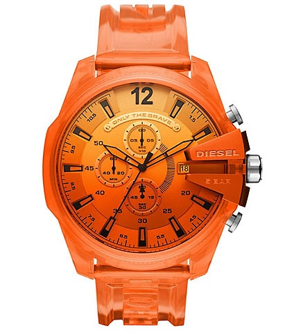 Diesel Mega Chief Chronograph Orange Polyurethane Transparent Watch