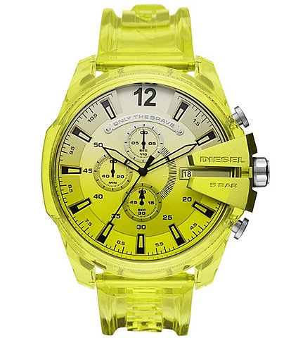 Diesel Mega Chief Chronograph Yellow Polyurethane Transparent Watch