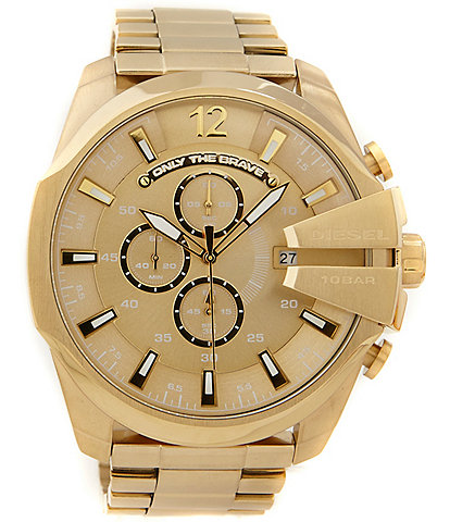 Diesel Mega Chief Gold IP Stainless Steel Chronograph Watch